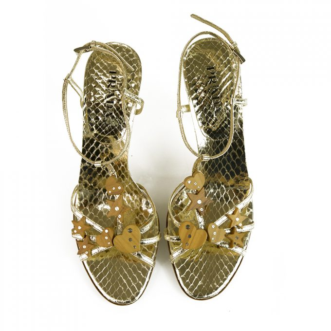 Prada Gold Snakeskin Embossed Leather Slingback Heels Strappy Shoes Pumps sz 38.5 with wooden charms