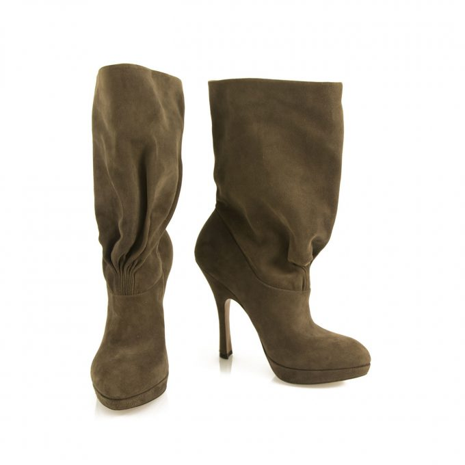 Prada Gray Suede Leather Pull On Calf Booties Boots Heels Shoes size 36