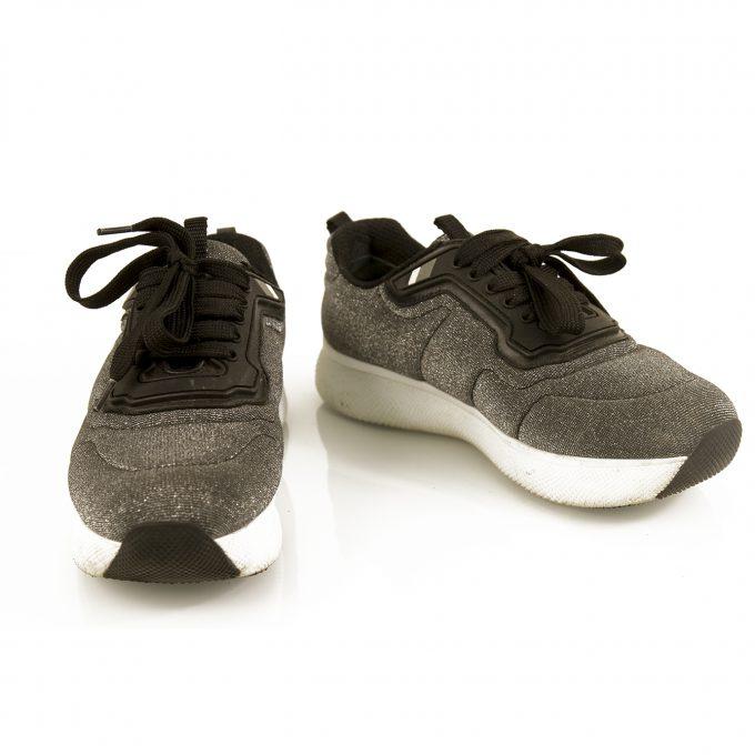 Prada Sport Silver Fabric Platform Sneakers Trainers 37 Black trimming 4cm Shoes