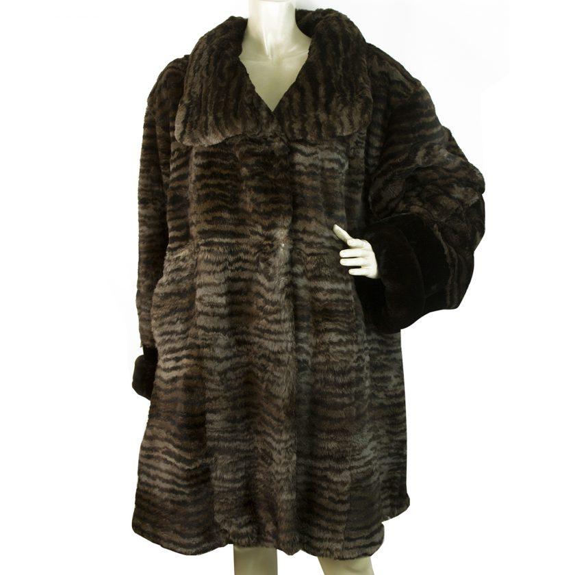Genuine Rabbit Fur Brown Knee Length Style Fur Jacket Coat