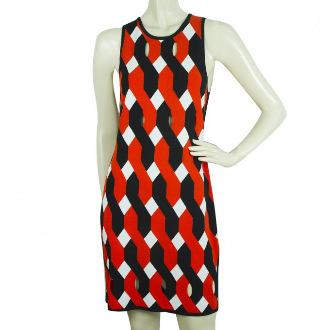 Rag & Bone Red Black White Chain Pattern Mini Bodycon Tank Style Dress Sz S / P