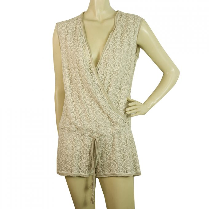 Raggiani Beige and Cream Tie Front V Neckline Playsuit Summer Romper Sz S