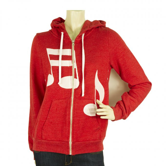 Rebel Yell USA Red Music Notes Hooded Jacket Zipper Closure Top - Size M