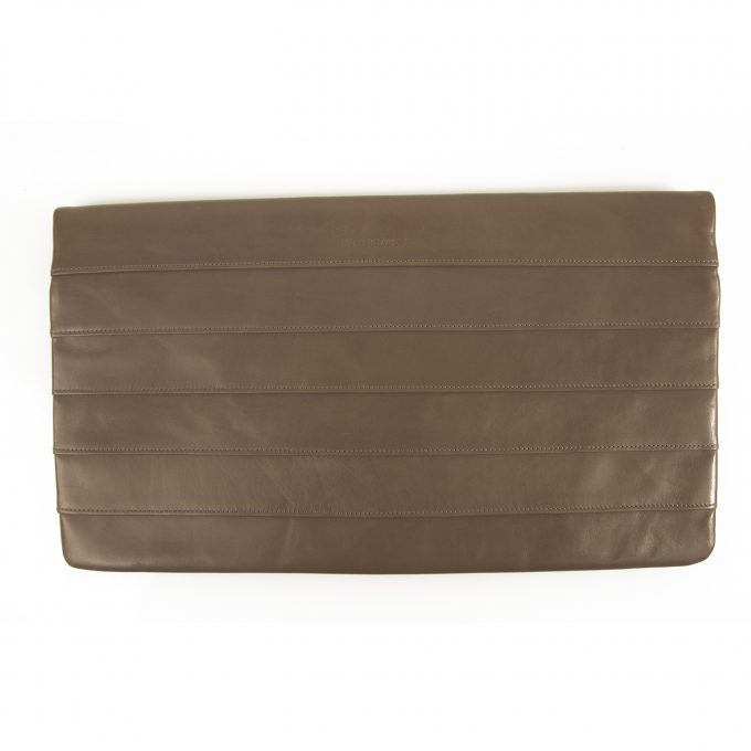 Reed Krakoff Taupe Nappa Leather Simple Clutch Full flap Rectangle bag $490 SRP