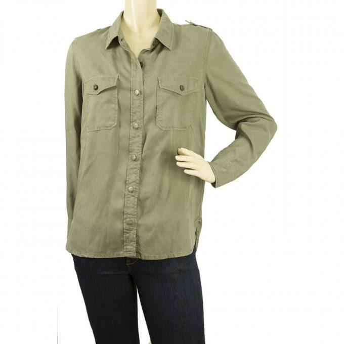 Bouton Reiko Claryss Armée Khaki Vert militaire Taille manches bas Long Shirt M