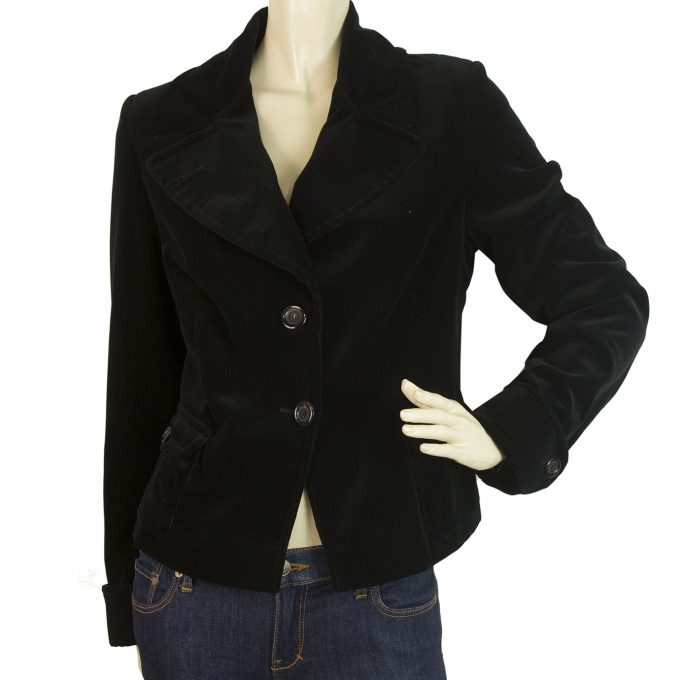 Rene Lezard Black Two Buttons Style Corduroy Jacket Cotton size 36