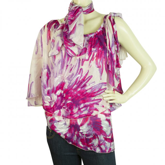Just Cavalli Floral 100% Silk Purple One Shoulder Top Blouse Matching Scarf 42