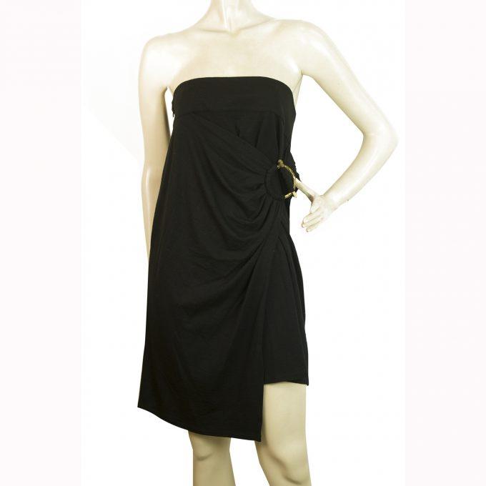 Roberto Cavalli Black Strapless Wrap Style Gold Tone Broach Mini Dress sz 44