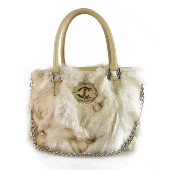 Just Cavalli Beige Genuine Fur & Leather Grab Bag Handbag Chain Shoulder Strap