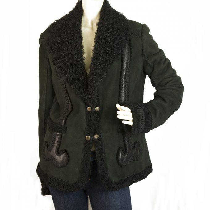 Just Cavalli Black Sheepskin Leather Designer Button Jacket size 50