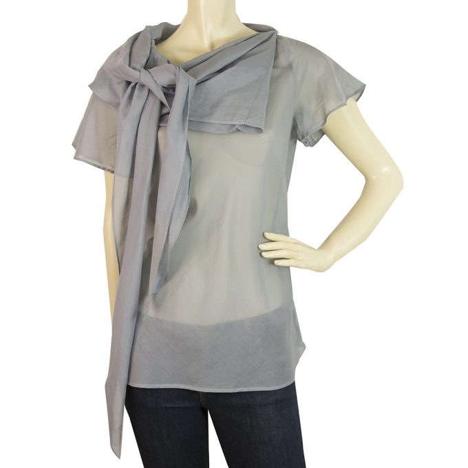 Just Cavalli Blue Gray Sheer Transparent Top w. Large Bow Blouse size 42