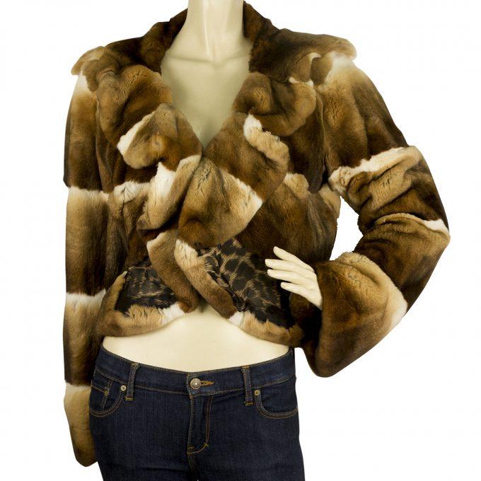 Roberto Cavalli Chinchila Brown Beige Fur Short Jacket Coat Leopard Silk lining