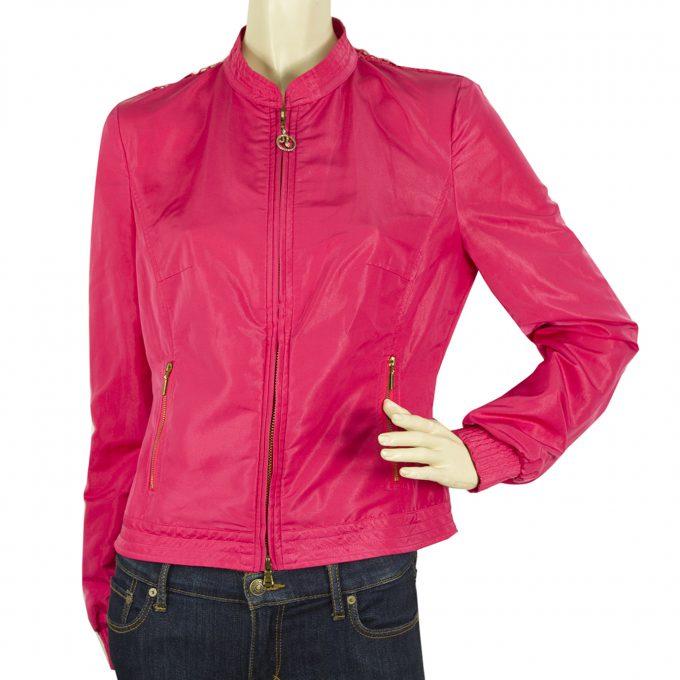 CLASS Roberto Cavalli Fuchsia Lace Floral Back Designer Short Jacket sz 42 IT