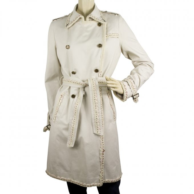 Roberto Cavalli Class Woman's Belted Off White Cotton Trench Jacket Coat sz 44