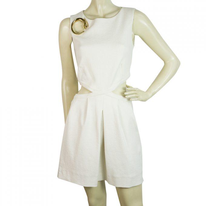 Roberto Cavalli Class Off White Cream Waist Slits Snake Broach Mini Dress sz 42