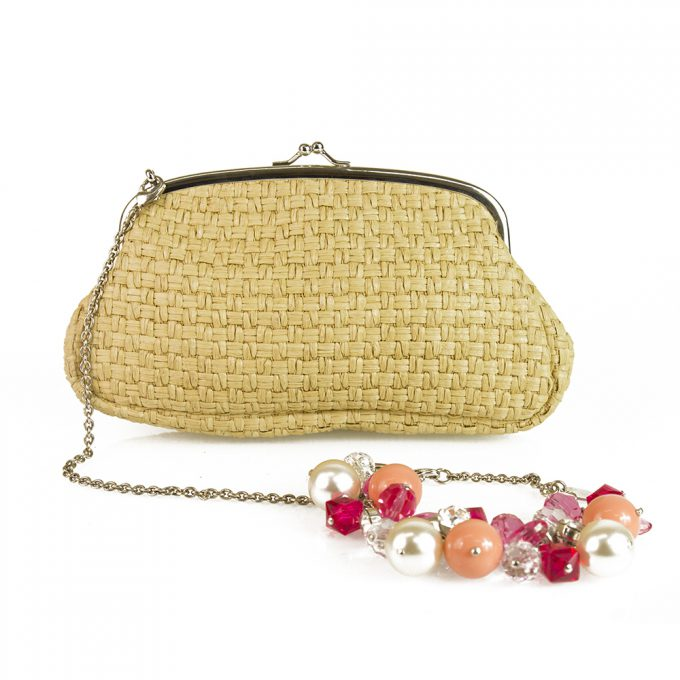 Rodo Beige Braided Straw Kiss Lock Frame Beaded Wristlet Clutch Bag Handbag