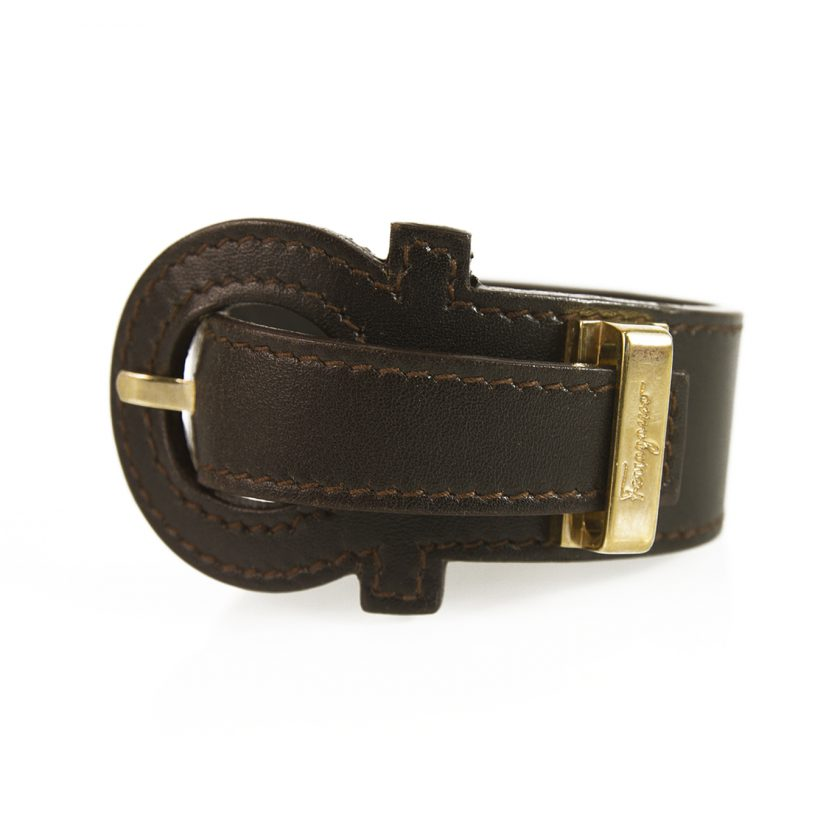 Salvatore Ferragamo Dark Brown Gancio Bracelet with Gancini Closure gold harware