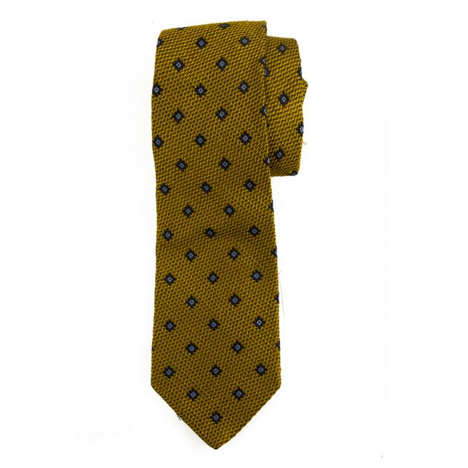 Les Copains 100% Silk Gold Blue Classic Men's Neck Tie Necktie
