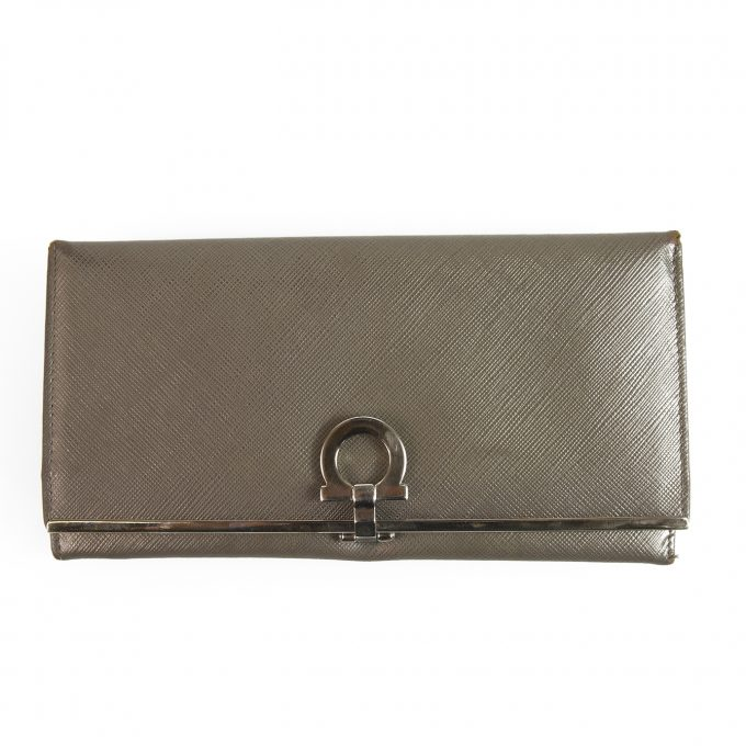 Salvatore Ferragamo Gray Leather Wallet Silver hardware Trifold Long Envelope