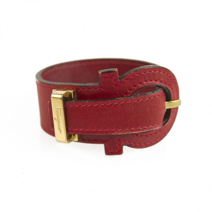 Salvatore Ferragamo Red Gancio Bracelet with Gancini Closure gold harware