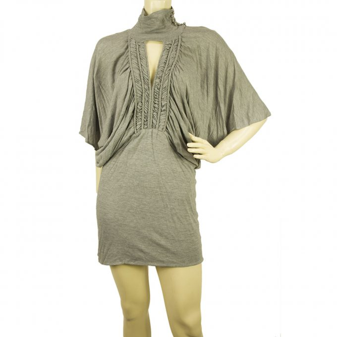 Sass & Bide Light Gray Woolen Mini Dress Sz 40 Eur w. Dolman Sleeves US 4