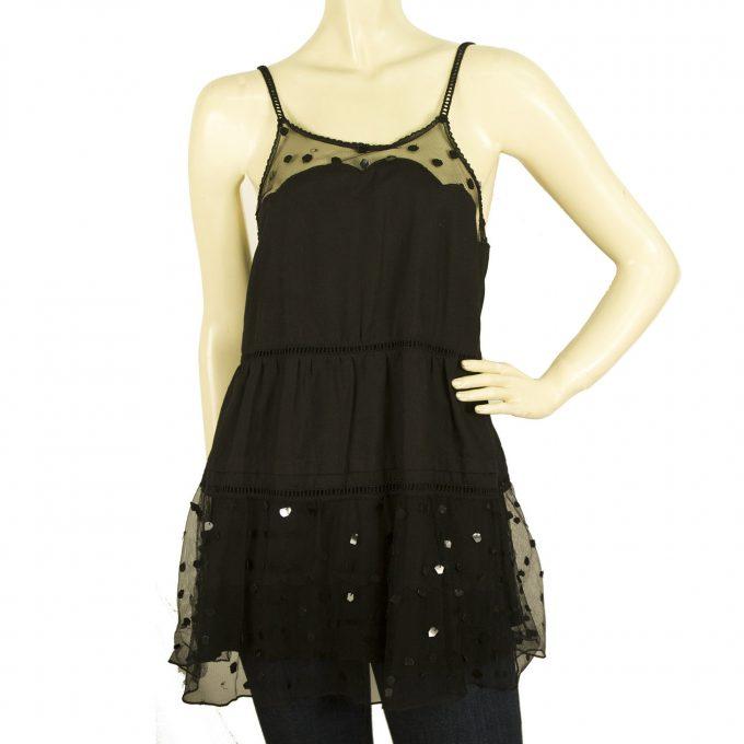 See by Chloe Black Long Cami Top Blouse with Tulle Spghetti Straps size 44