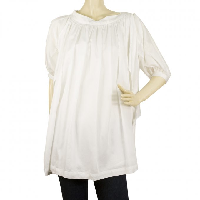 See by Chloe White Cotton w. Small Pleats Tunic Top Oversize Blouse size 38