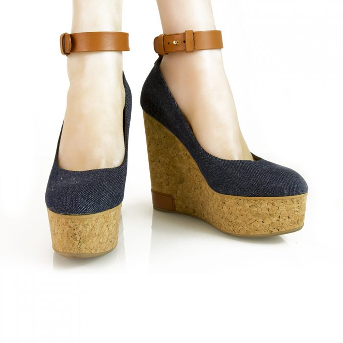 Sergio Rossi Blue Denim Tan Leather Strap Cork Wedge Pumps Platform Shoes sz 39