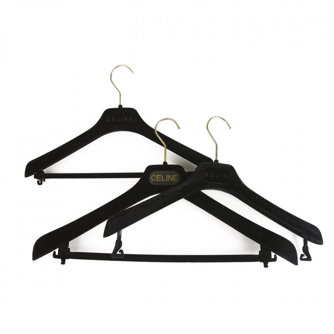 Set of 3 Celine Plastic Velvet Covered Hangers with printed Logo