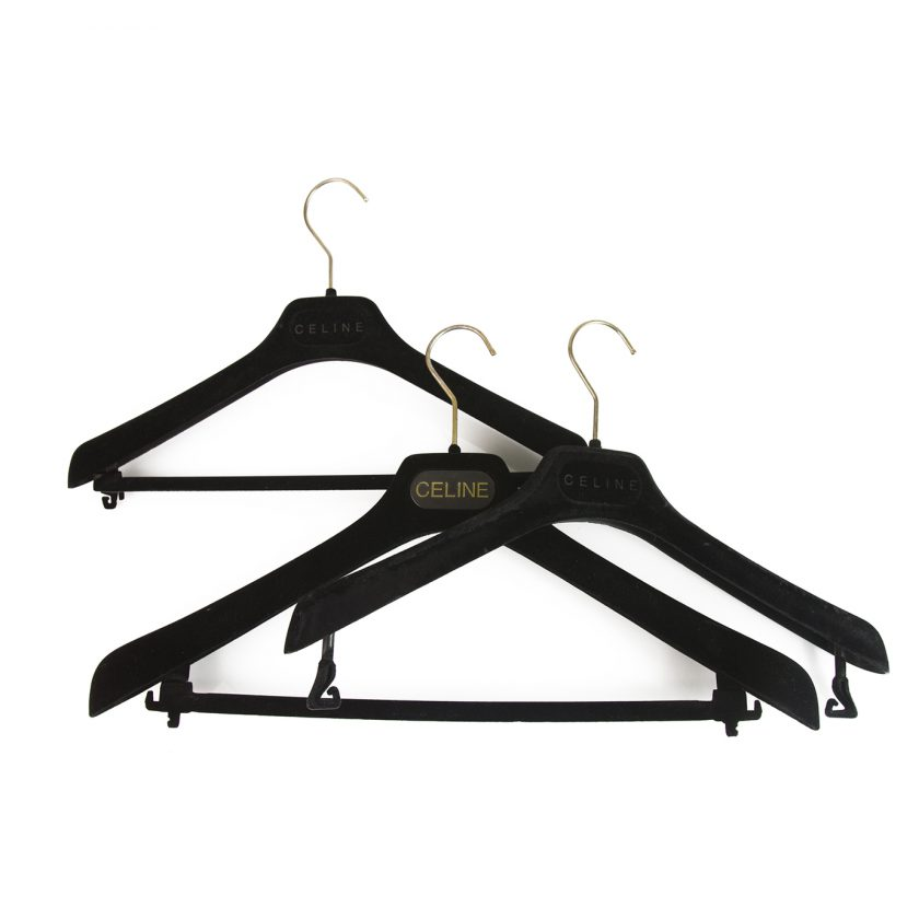 Set of 3 Celine Plastic Velvet Covered Hangers with printed Logo