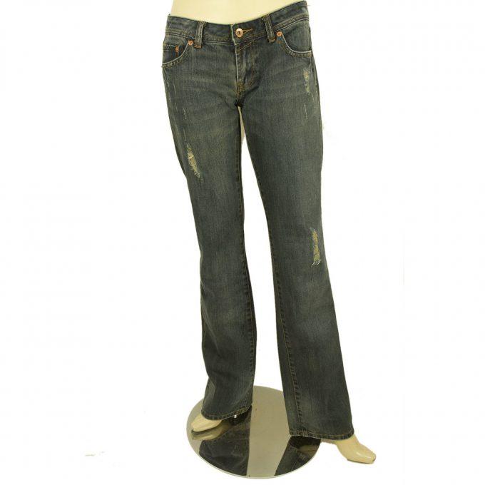 Seven 7 Womens Blue Denim Bootcut Distressed Jeans Tousers pants sz 27