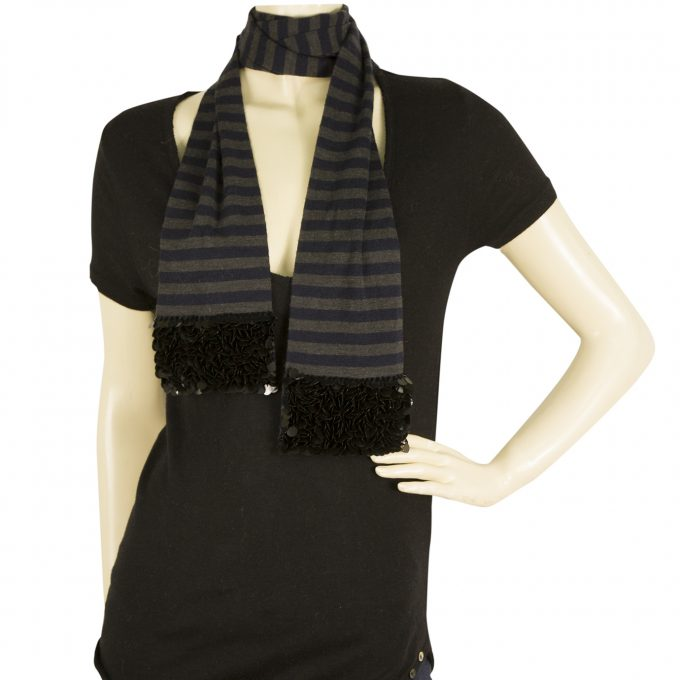 Sonia by Sonia Rykiel Gray Blue Striped 100% wool Scarf Wrap w. Black Sequins