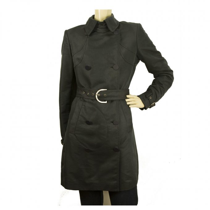 Stella McCurtney Woman's Black Raincoat Double Breasted Belted Trench Coat sz 42