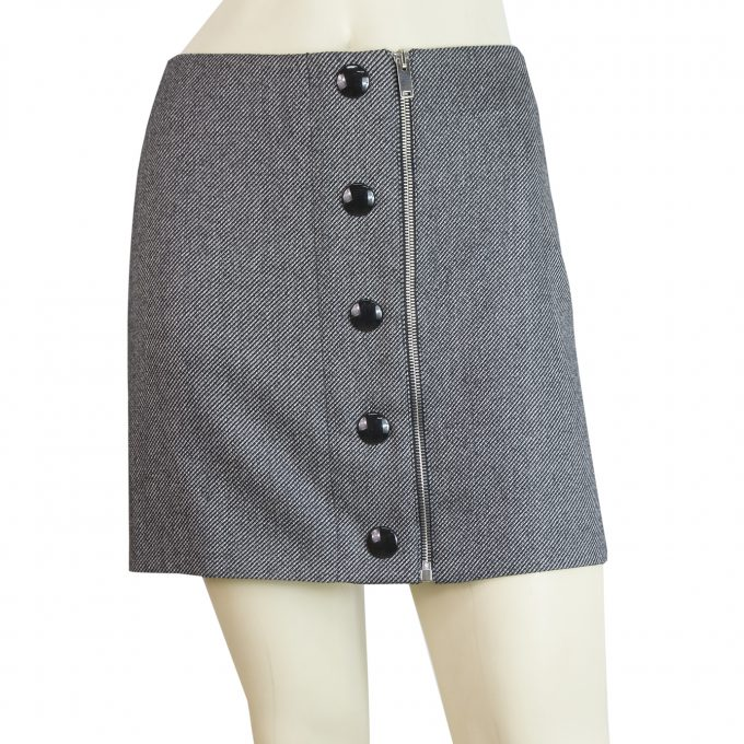 Stella mcCurtney Gray mini wool blend skirt buttons & zip assymetrical size 40