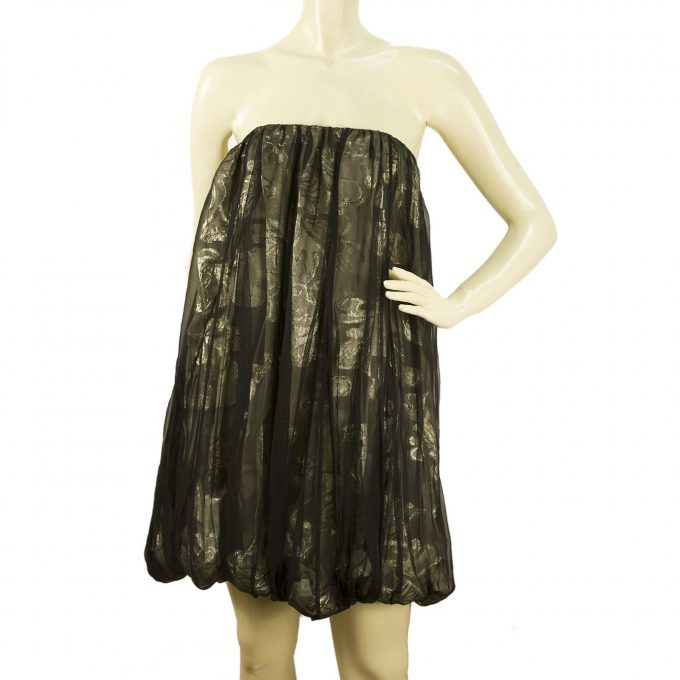 Stella McCartney Dark Silver Metallic Bubble Hem Skirt or Strapless Dress Sz 40