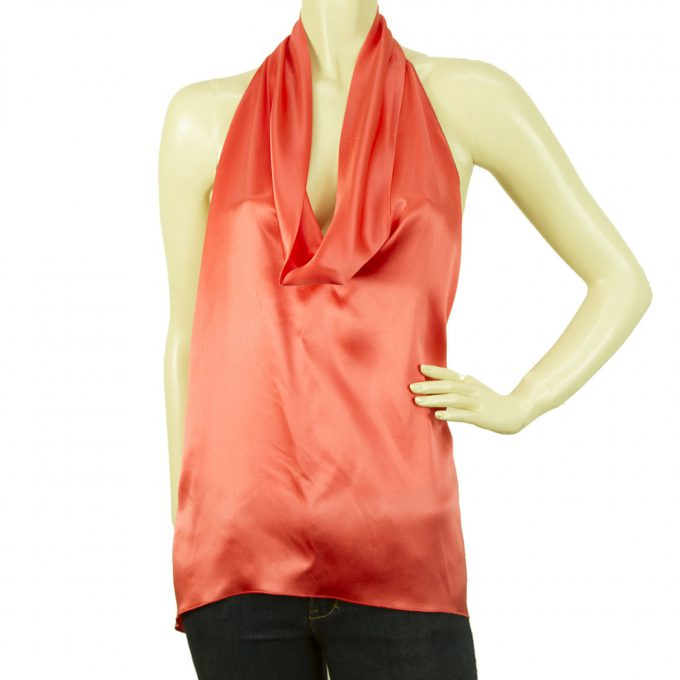 Stephan Janson Peach Color Handkerchief Halter Silk Top Open Back Blouse sz 44
