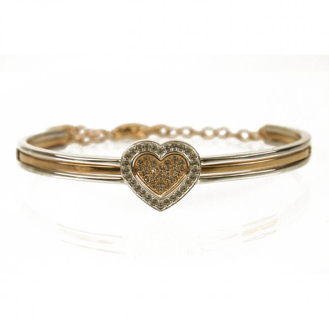 Swarovski J-Nina Cupid Heart Silver Gold Tone Crystals Oval Bangle Bracelet