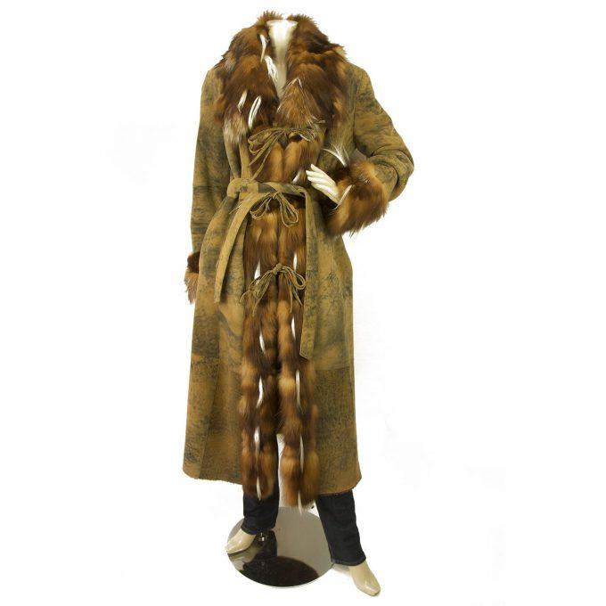 T.T.G. Paris Beige Brown Genuine Fur Sheepskin Belted Long Coat size 38
