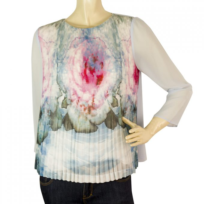 Ted Baker Light Blue Floral Sheer Sleeves Pleated Body Top - Size 1