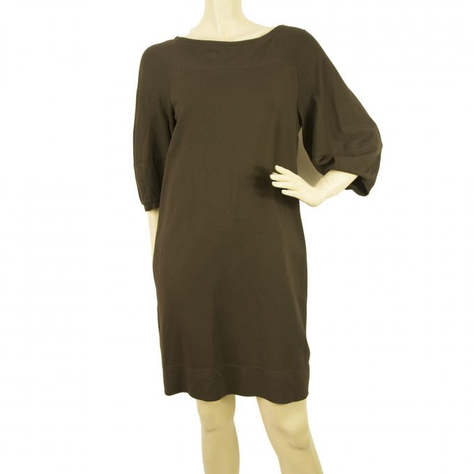 "Theory "" Missie Craze "" Brown Viscose Mini Length Tunic Dress Fitted Back - Sz S"