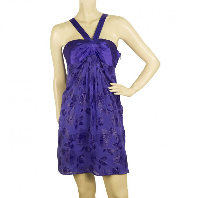 Tibi Silk Floral Daisies Jacquard Purple Y Neck Sleeveless Mini Dress -SZ 4