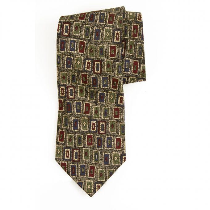 Tiziana Bozzi 100% Silk Gray Green Blue Red Art Men's Neck Tie Necktie