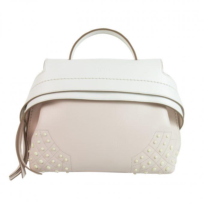 TOD'S Mini Wave Bag Bicolor White and Pink Leather Satchel Bag Handbag w Strap