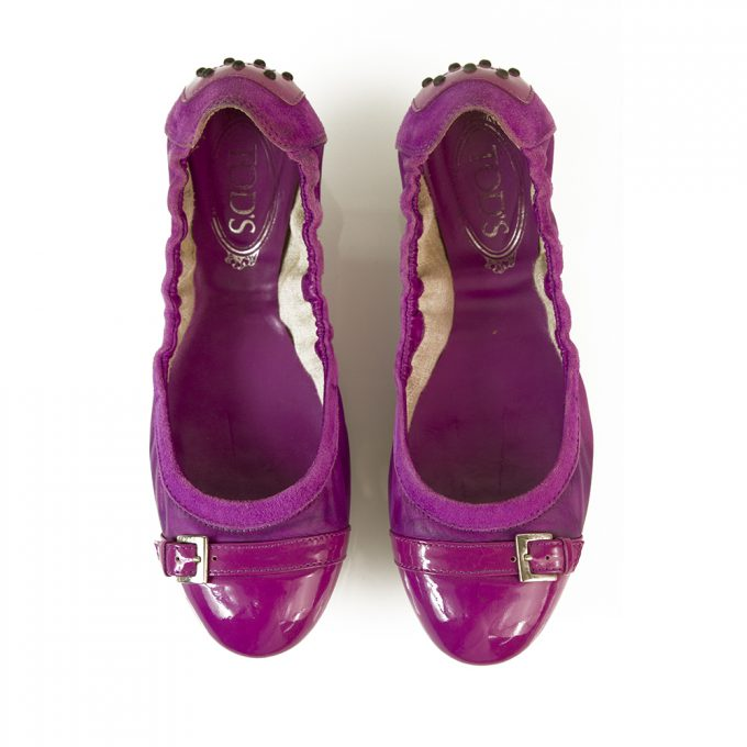 TOD'S Gommino Purple Suede Patent Leather Ballerinas Flat Elastic Shoes size 37