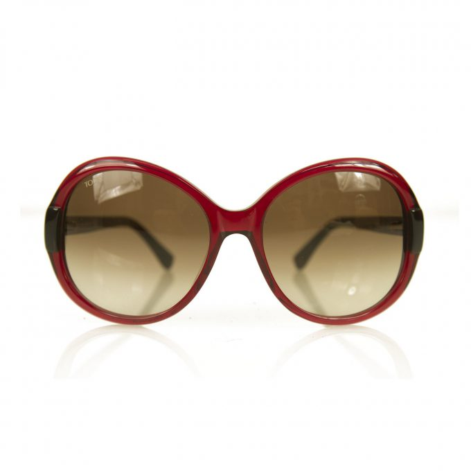 Tod's TO 30 69F Burgundy red Round Frame Womens Oversized Gradient Sunglasses