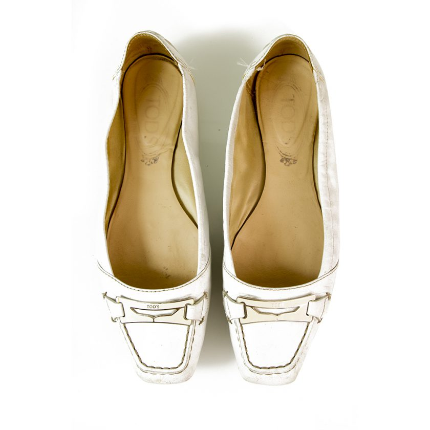 TOD'S Gommino White Leather Ballerinas Flat Moccasins Square toe Shoes size 37