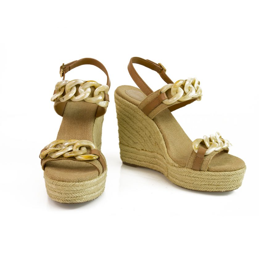 Tory Burch Beige Canvas Chain Jute Wedge Sandal Platform Shoes Espadrilles sz 9M