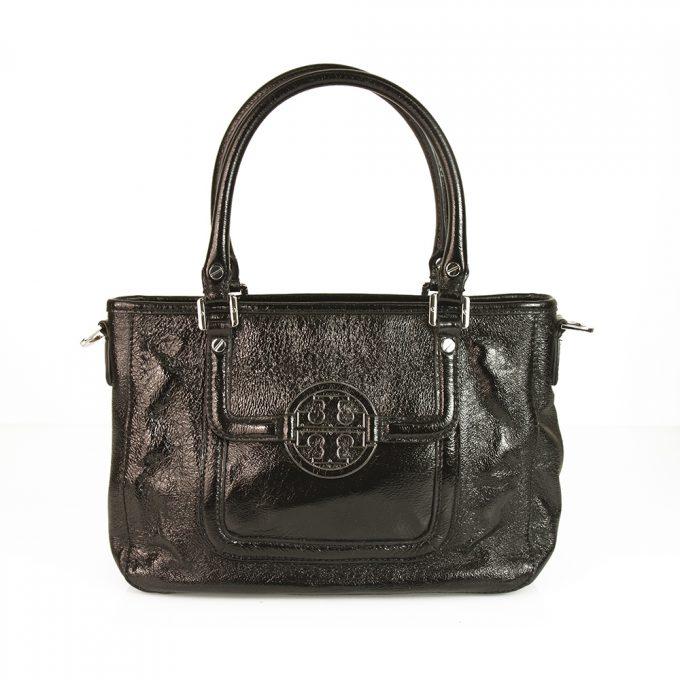 Tory Burch Black Shiny Crackled Leather Satchel Crossbody Messenger Bag Handbag