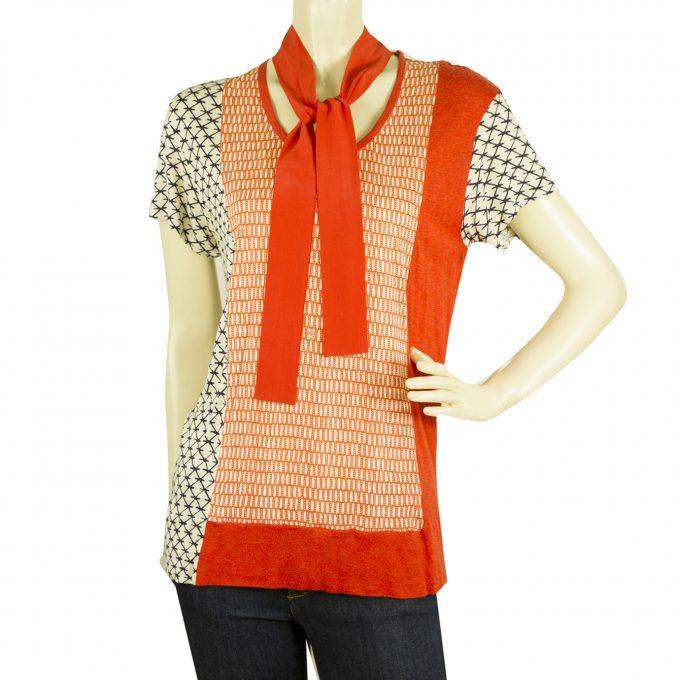 Tory Burch Blue Orange w. det. Silk Scarf Viscose T-shirt Top Blouse - Sz M
