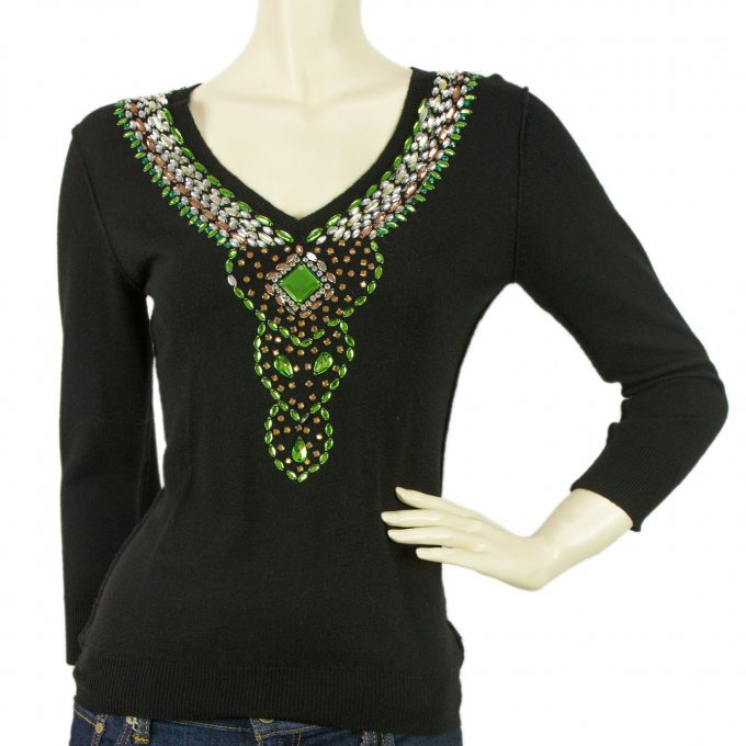 Toupy Black Green Wool Knit Long Sleeves Beaded Blouse Top with V Neckline T 1